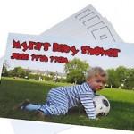 tarjeta postal con foto de niño