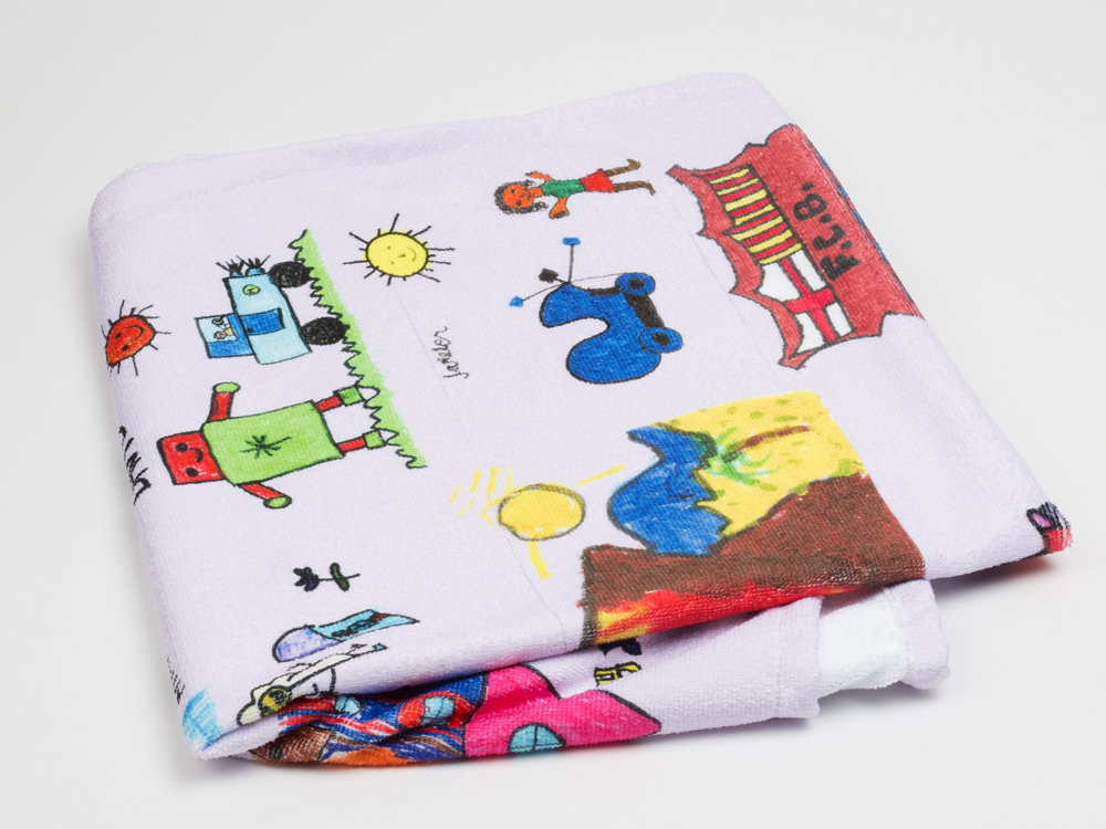 Towel with drawings for teacher